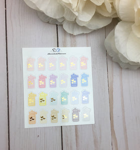 Foil Water Bottle Planner Stickers | Foil Hydrate Planner Stickers