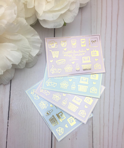 Amy's Favorites Foil Icons Planner Stickers | Colab With Two Little Bow Babies