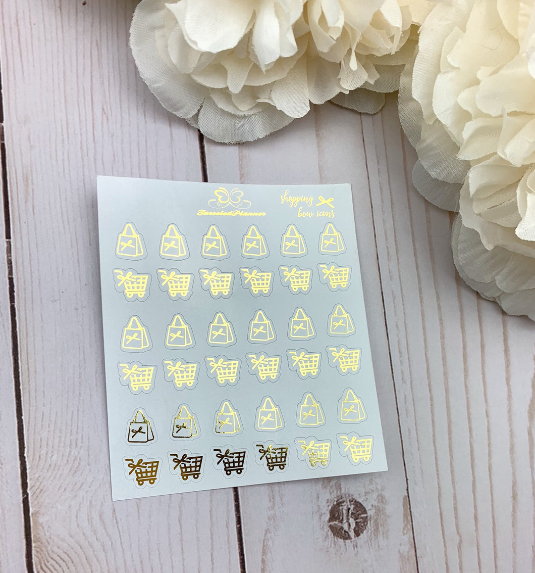 Foil Bow Shopping Icons Planner Stickers