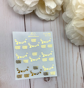 Foil Bow Laundry Icons Planner Stickers