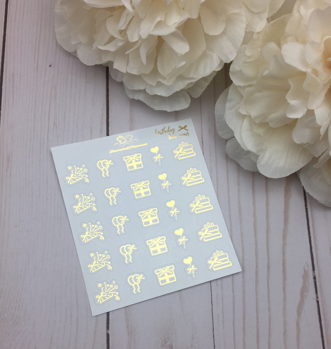 Foil Bow Birthday Icons Planner Stickers