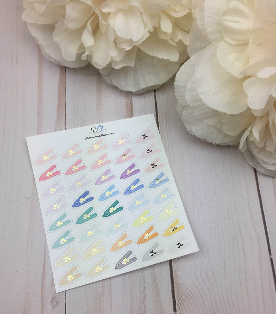 Foil Hair Straight Iron Planner Stickers | Foil Flat Iron Planner Stickers