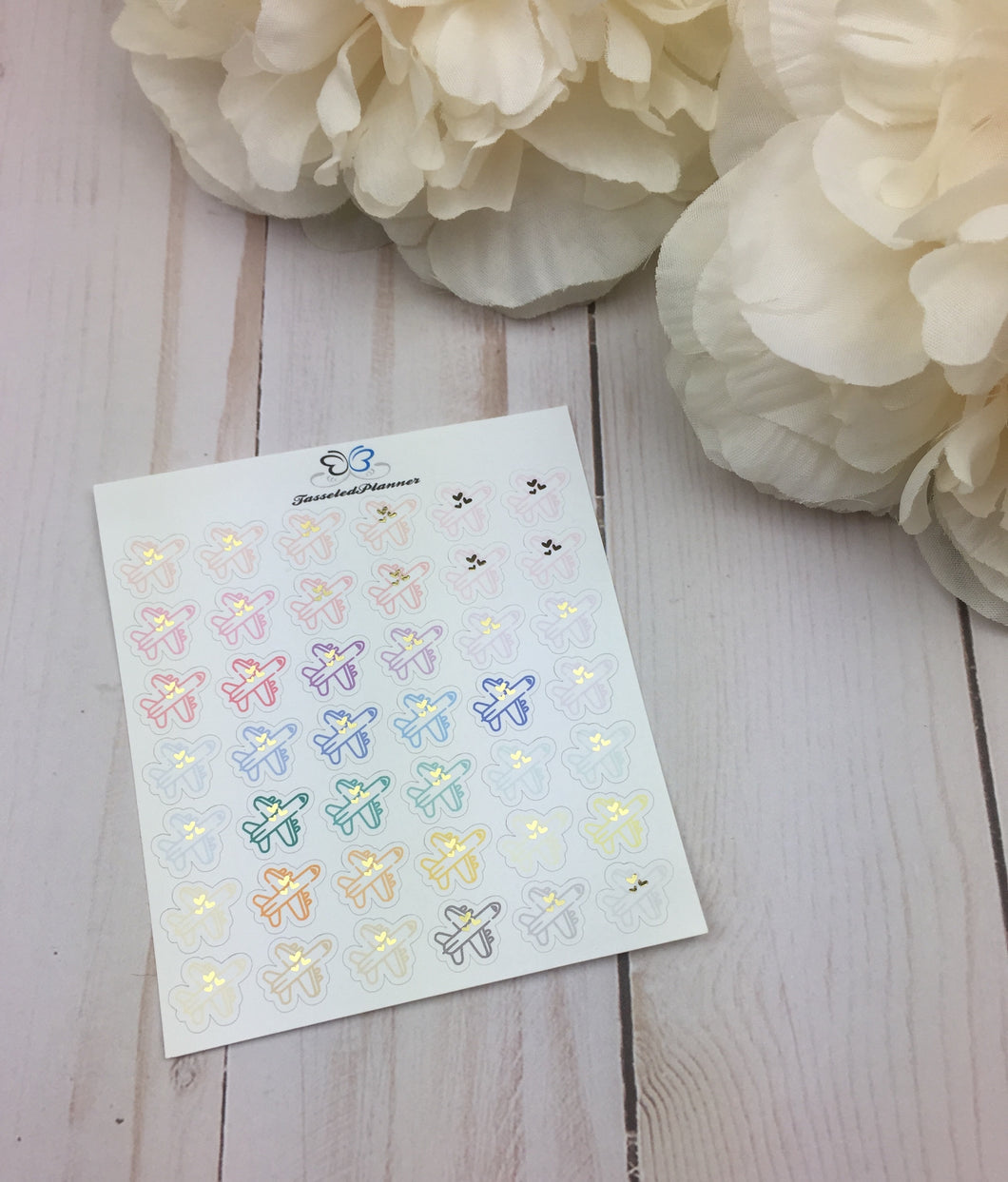 Foil Airplane Planner Stickers | Foil Travel Planner Stickers