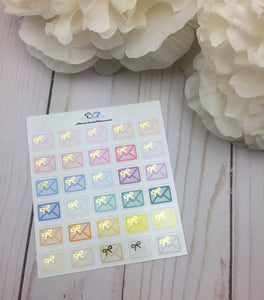 Foil Bow Happy Mail Multicolor  Icons Planner Stickers