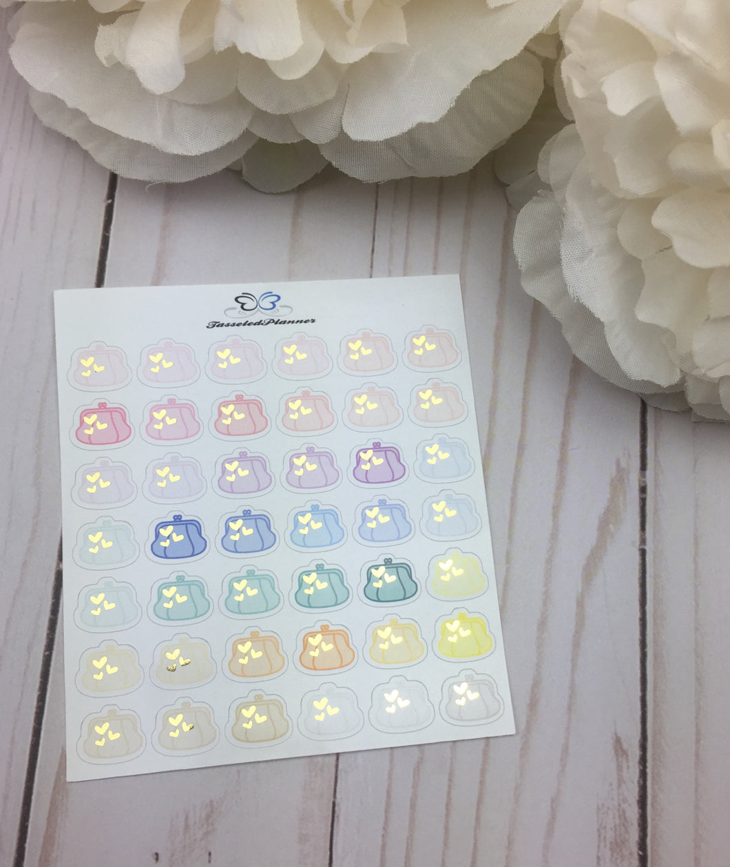 Foil Coin Purse Icons Planner Stickers