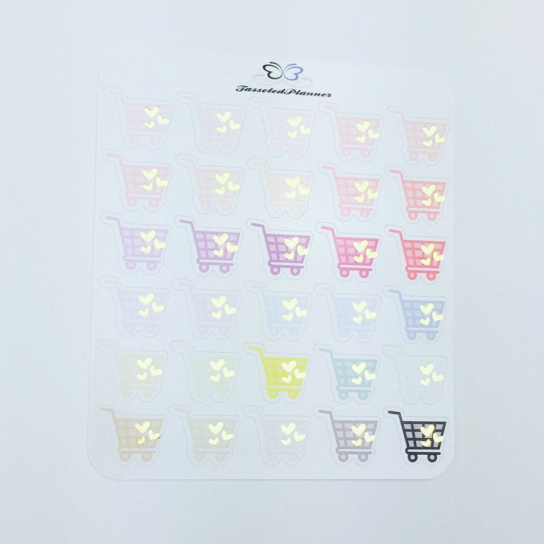 Foil Shopping Cart Planner Stickers | Foil Grocery Shopping Planner Stickers | Planner Stickers