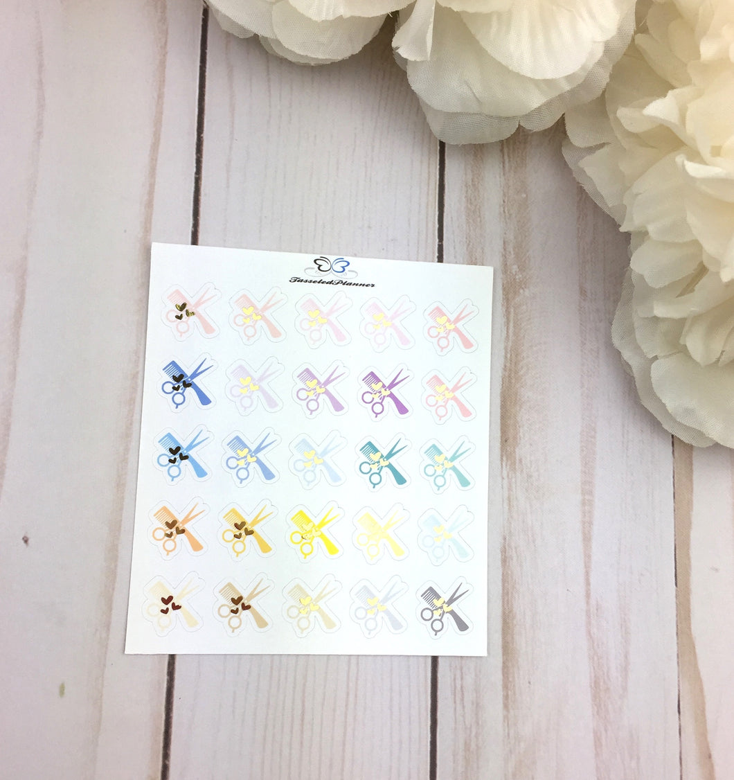 Foil Hair Cut Planner Stickers | Foil Hair Appointment  Planner Stickers | Planner Stickers