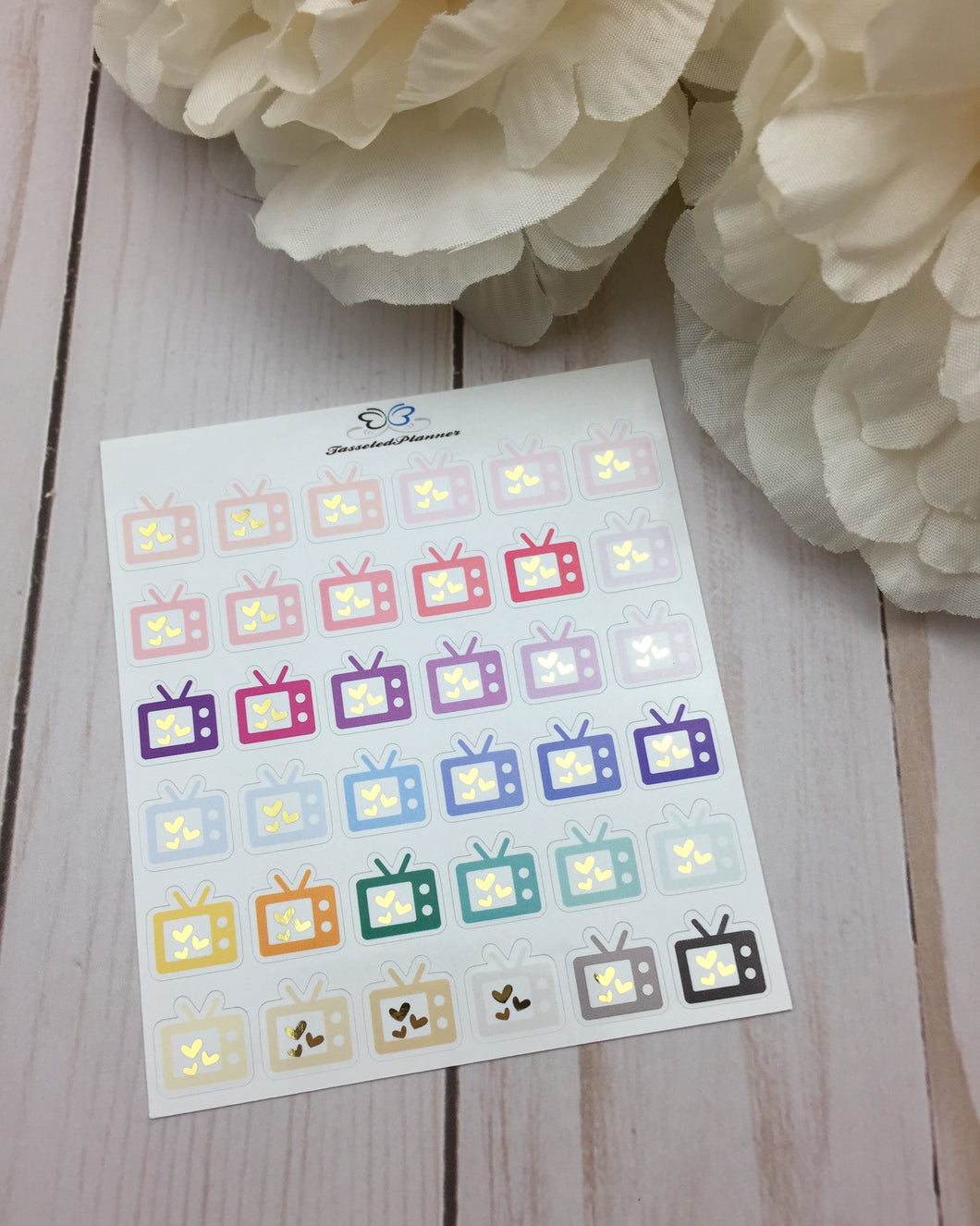 Foil TV Planner Stickers | Foiled Television Planner Stickers | Foil TV Binge Planner Stickers