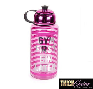 """GYM First GIN Later"" cute workout gym water bottle pink"