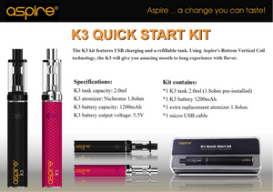 Aspire K3 Quick Start Kit - 1200mAh battery - Uni Vapes