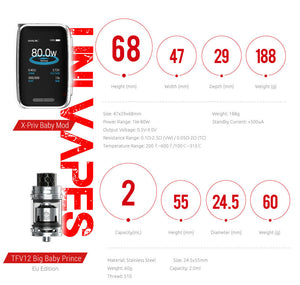 SMOK X-Priv Baby Kit -  Built-in 2300mAh Rechargeable Battery - £48.48 - Uni Vapes