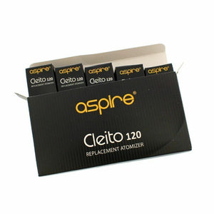 5 x ASPIRE CLEITO 120 COILS Authentic Replacement Coil Heads, 0.16ohm - Uni Vapes