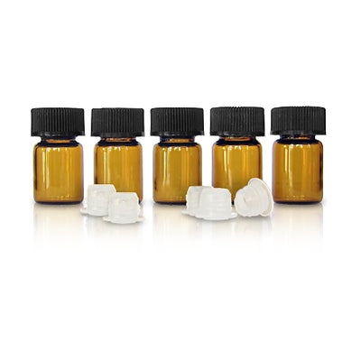 5/8 Glass Dram Bottle | Amber | 5-Pack