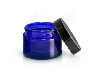 50ML COBALT BLUE JAR BLACK CAP SET OF 2 - Spark Naturals