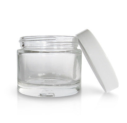 2.3 oz. Clear Glass Jar with White Cap