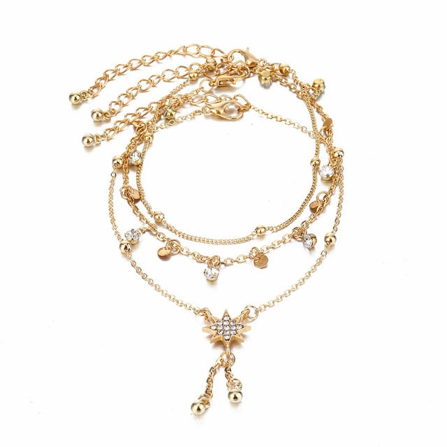 Bohemia Multi layer Crystal Anklet Set