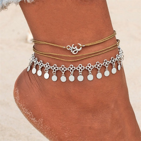 Round Pendant Multi-Layer Beach Anklet - Soles Mates Shoes