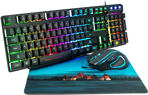 Ps4 Xbox One Rainbow Gaming Keyboard Mouse Combo Thegiftmeister