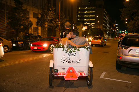 CAPTION Book a Wedding Exit Pedicab with Standard Decorations - $150