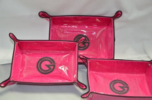 set of 3 collapsible trays cerise with black trim