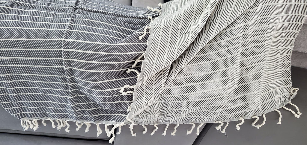 Grey with white stripe pestemal turkish towel