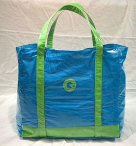 Blue with lime green trim beach bag