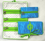 Jewel roll with detachable pocket in blue with lime trim