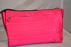 Cerise with black trim cosmetic case backside