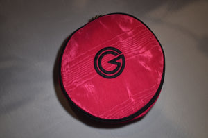 Large Round jewel case in cerise with black trim