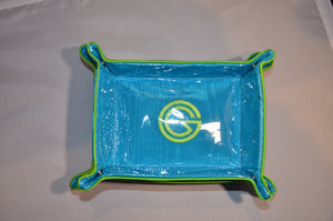 Blue with lime green trim collapsible tray