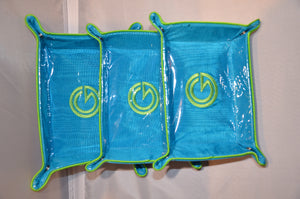set of blue with lime green trim collapsible trays