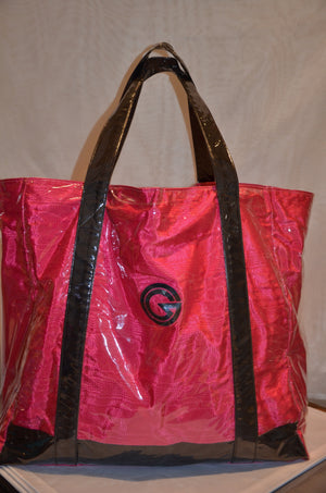 Cerise with black trim beach bag