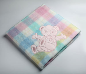 Pink Bear Plaid Blanket