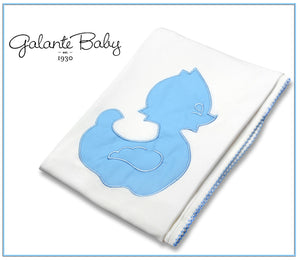 swaddling blanket with blue duck