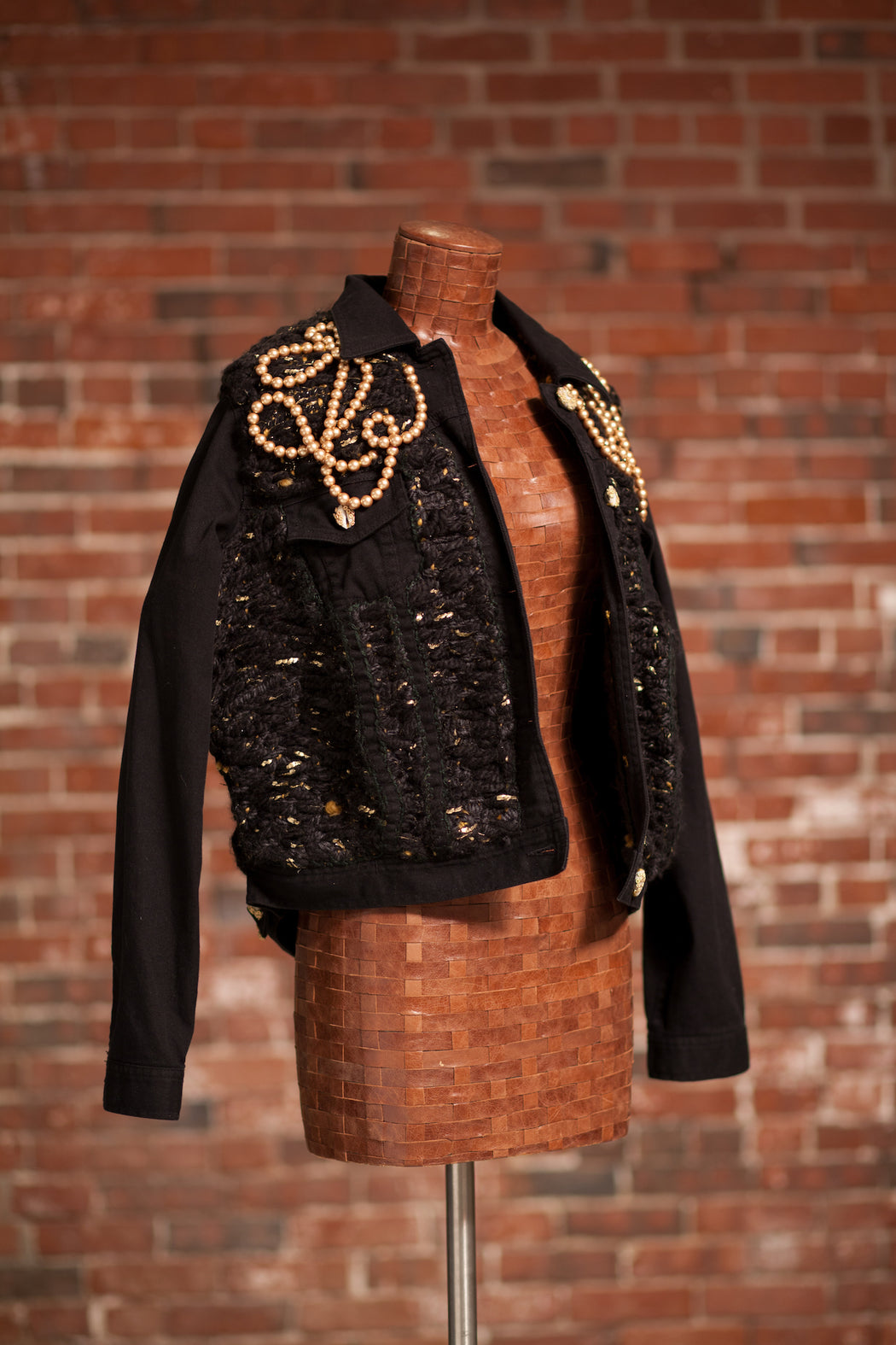 Artisanal Collection Bourya Boury Black Denim Jacket front right