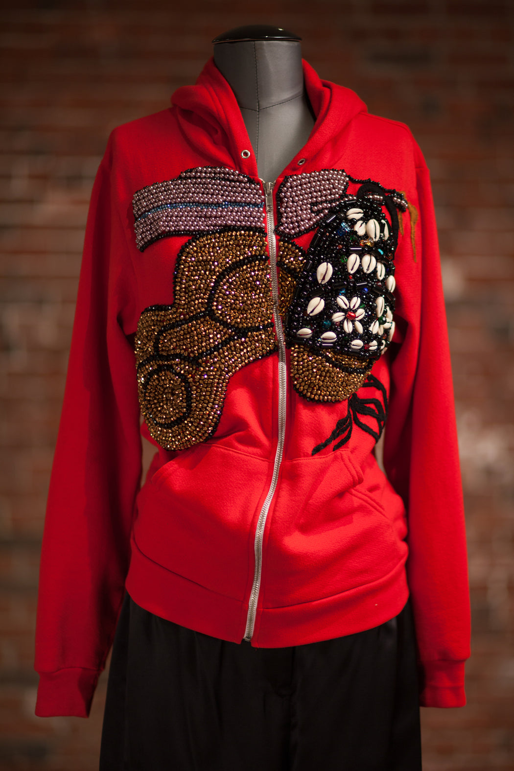 Artisanal Collection Bourya Boury Red Zip-Up Hoodie front