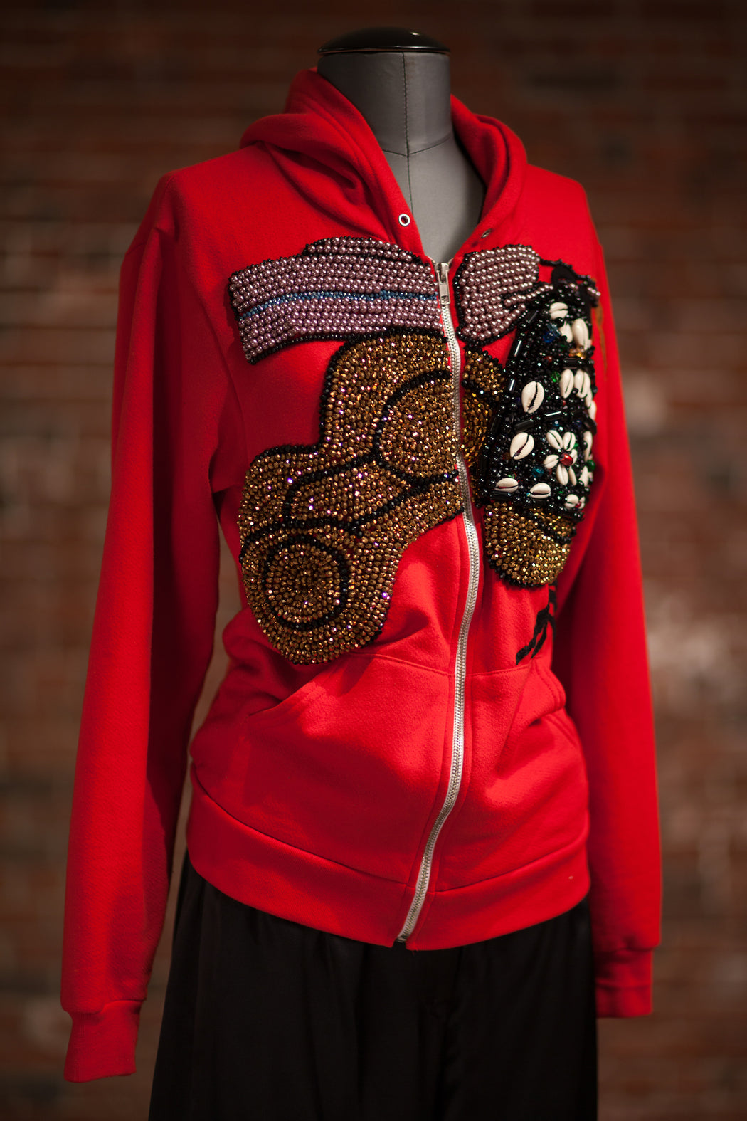 Artisanal Collection Bourya Boury Red Zip-Up Hoodie front side