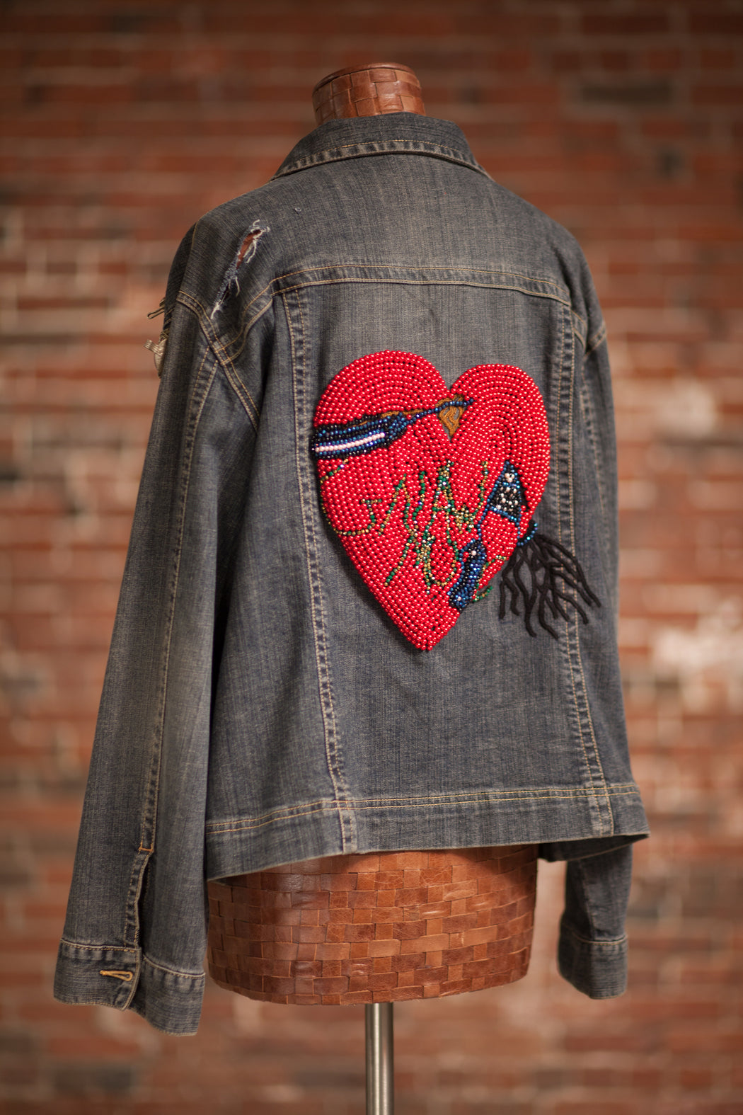 Artisanal Collection Ya Moulana II Denim Jacket back angle