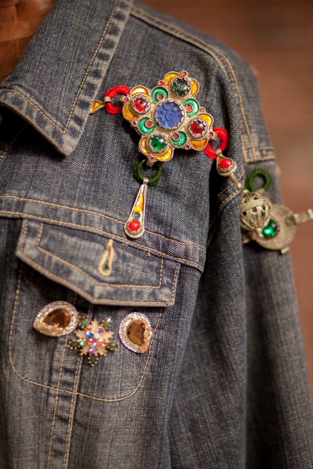 Artisanal Collection Ya Moulana II Denim Jacket front detail