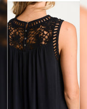 Load image into Gallery viewer, High Crochet Floral Black Dress