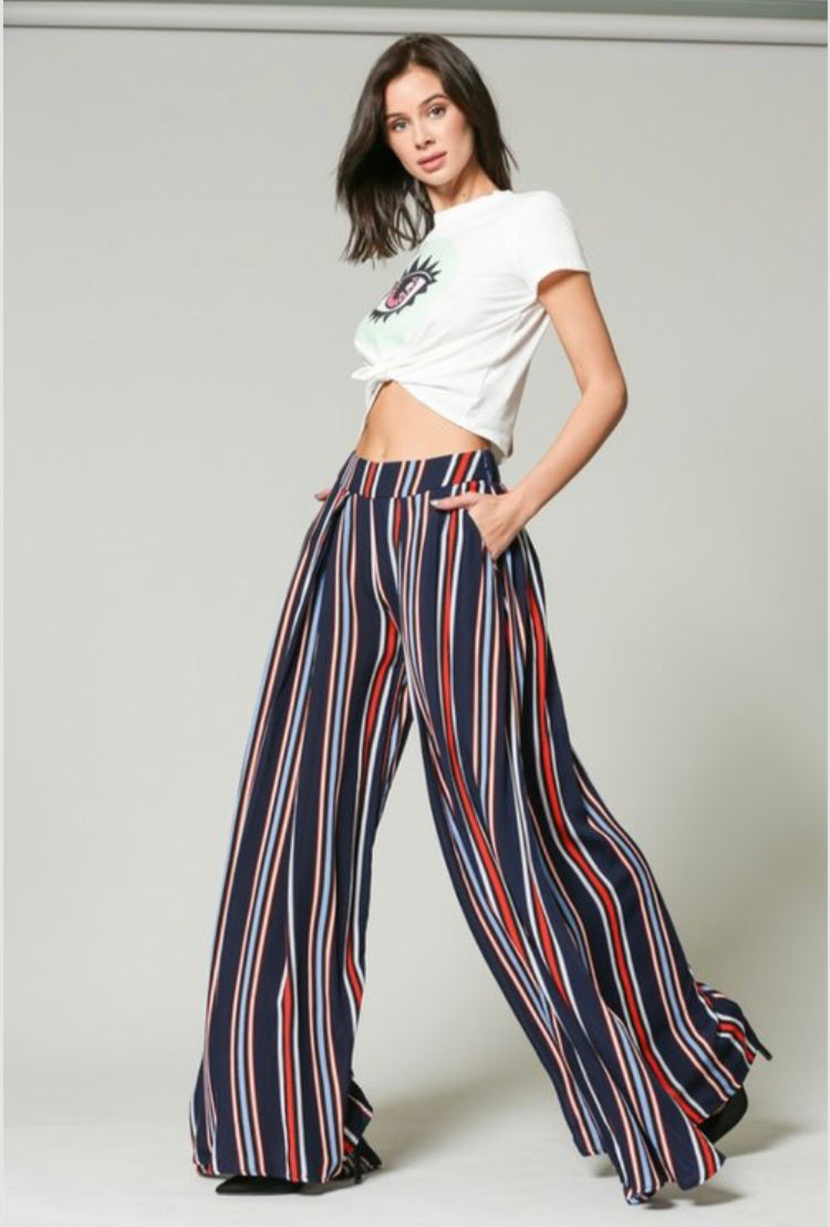 Stiped Wide Skirt Pants