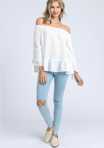 Flowy Off Shoulder White Blouse