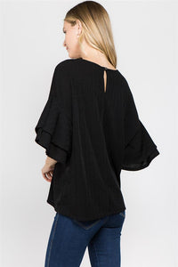 Wide Sleeves Chic Black Blouse
