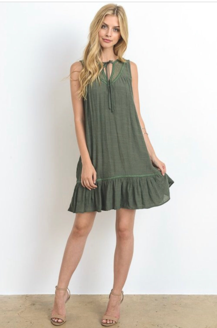 Olive Embroidered Yoke Ruffle Dress