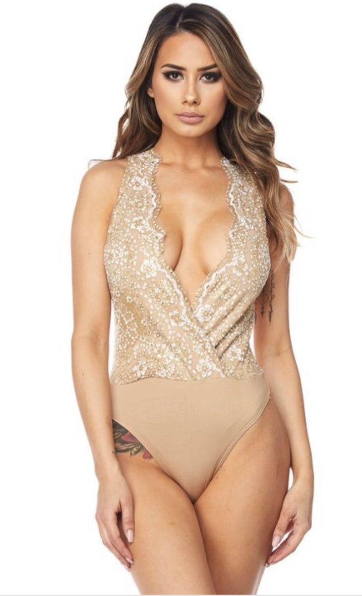 V Neck Sleeveless Glitter Bodysuit