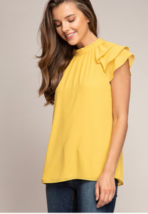Chic Short Sleeve Yellow Blouse