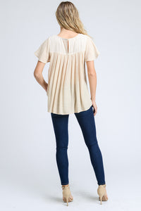 Embroidery Pleated Back Top
