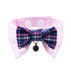 Gareth Cat Shirt Collar and Bow Tie - Pink - Critters Outfitters