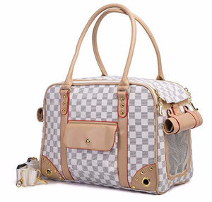 White Checkered Pet Carrier - Critters Outfitters
