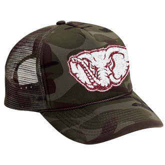alabama crimson camo trucker hat
